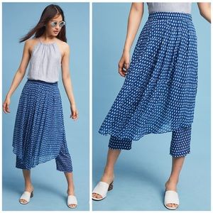 Anthropologie HD in Paris Skirted Waterfront Pants Blue Print, Size 8
